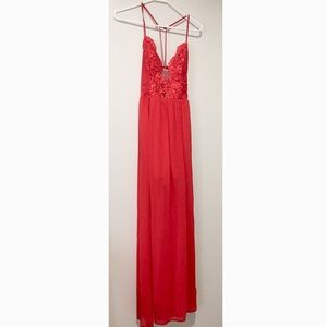 Soieblu Red Lace Tie Back Maxi Dress